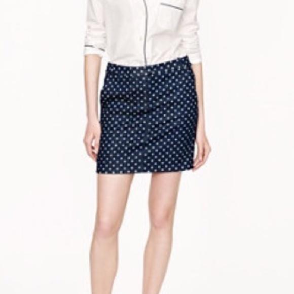 J. Crew Dresses & Skirts - J. Crew Postcard Mini Skirt Indigo Dot Denim Sz 0